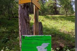 Panneau directionnel avec panneau d'information sur le patou à l'attention des promeneurs