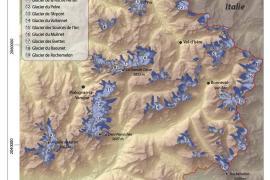 Carte de l'évolution des glaciers depuis le Petit Âge de Glace