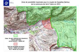 Carte Zone de Sensibilité Maximale de 2015 pour l'aire de Val d'Isère
