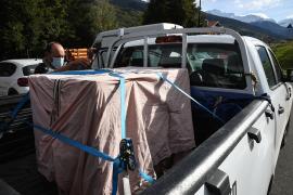 La caisse de transport de l'aigle royal depuis le centre Le Tichodrome jusqu'à son site de relâcher © PNV - Christophe Gotti